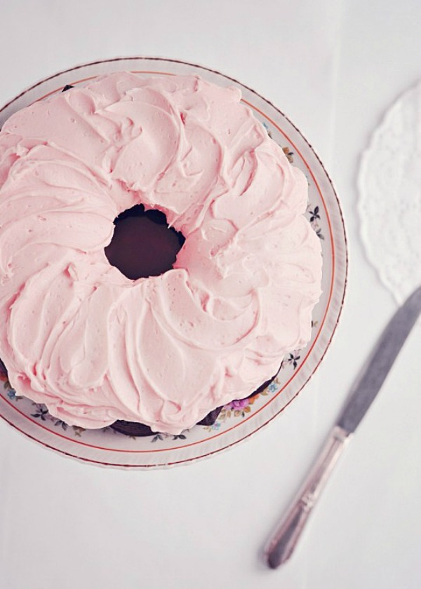 Dark Chocolate Chiffon Cake with Fluffy Rosewater Frosting from sweetapolita.com on foodiecrush.com