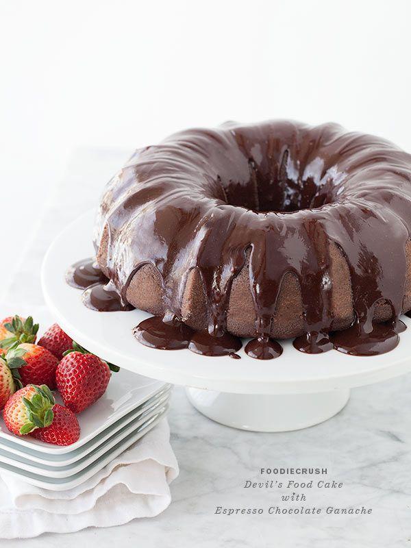 Devil's Food Bundt Cake with Espresso Chocolate Ganache from foodiecrush.com