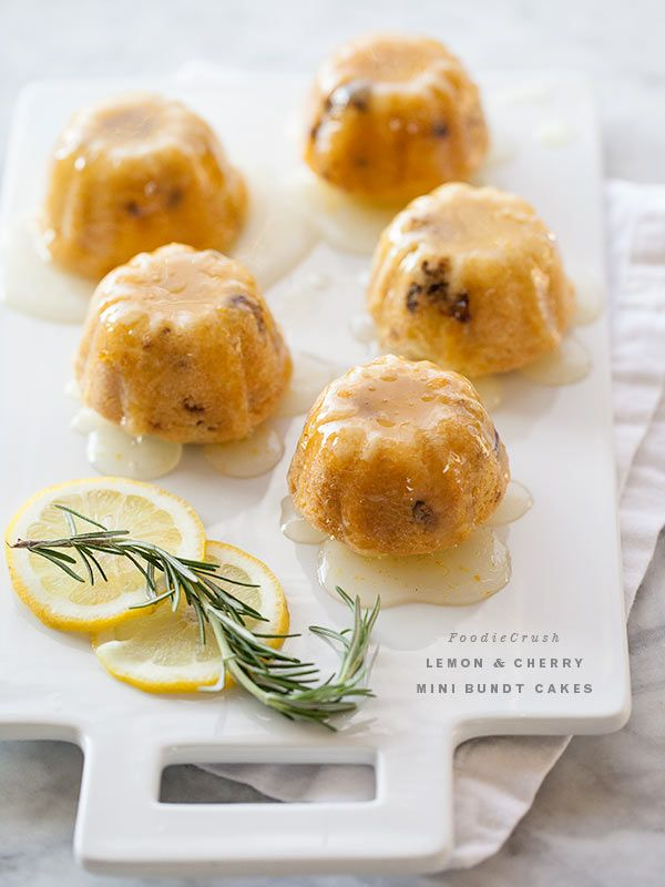 Lemon and Cherry Mini Bundt Cakes from foodiecrush.com