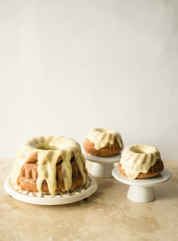 Vanilla Malted Bundt Cake with White Chocolate and Cardamom Frosting from butterandbrioche.com on foodiecrush.com