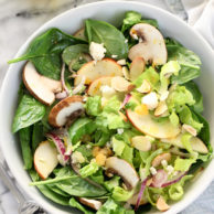 Winter Green Salad with Orange Honey Mustard Vinaigrette on foodiecrush.com