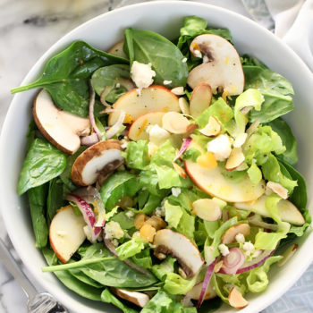 Winter Green Salad with Orange Honey Mustard Vinaigrette on foodiecrush.com