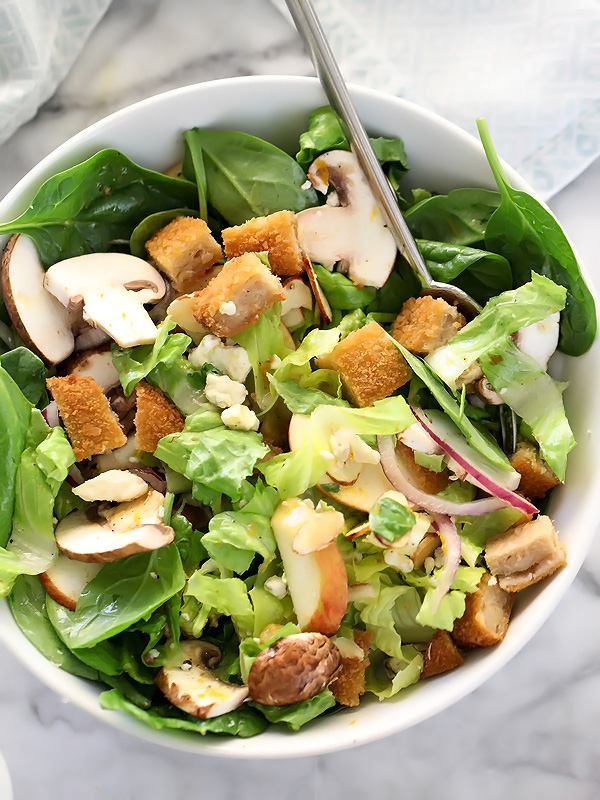 Apple, Pear and Mushroom Green Salad with Orange Mustard Vinaigrette | foodiecrush.com #recipes #healthy #dressing