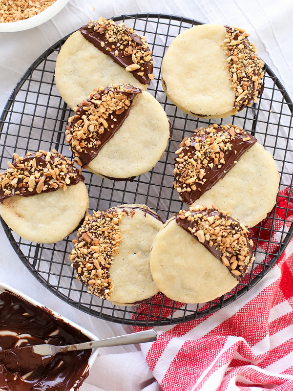 Chocolate Dipped Almond Cookies | foodiecrush.com