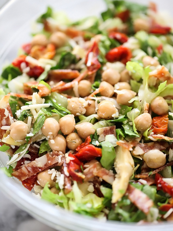 Italian Chopped Salad with Marinated Chickpeas | foodiecrush.com #recipes #healthy #dressing