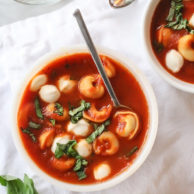 Roasted Garlic Tomato Basil Tortellini Soup foodiecrush.com