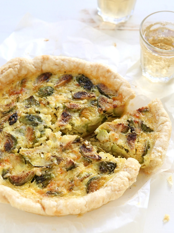 Roasted Brussel Sprout and Gruyere Quiche