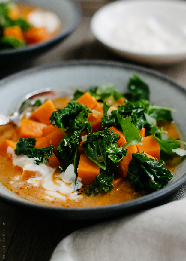 Sweet Potato and Kale Coconut Curry Soup | www.kitchenconfidante