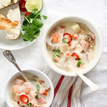 Thai Fish Chowder with Copper River Salmon | foodiecrush.com