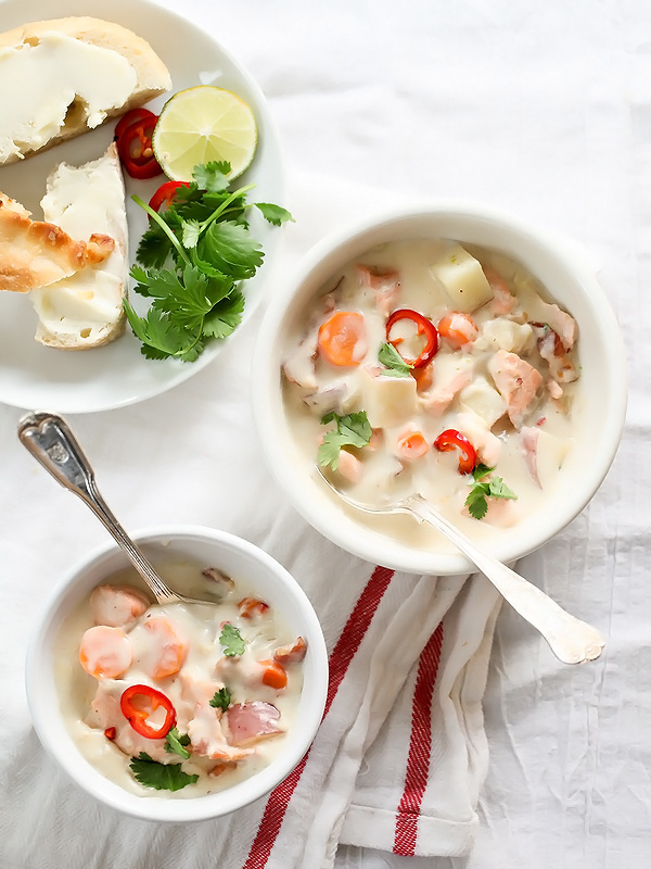 Thai Fish Chowder with Copper River Salmon | foodiecrush.com #recipe #easy #creamy