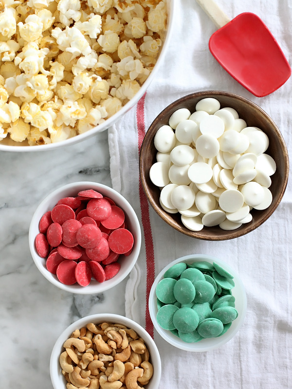 White Chocolate Peppermint Popcorn with Cashews on foodiecrush.com