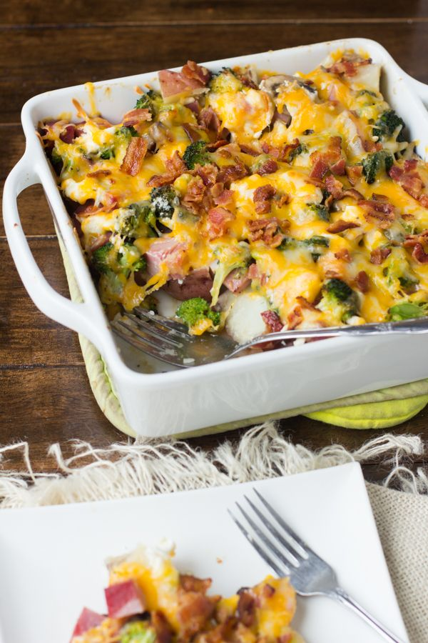 Cheesy Ham and Potato Bacon Casserole from ohsweetbasil.com on foodiecrush.com
