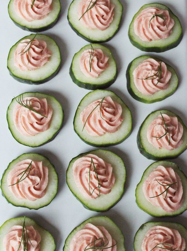 Cucumber Rounds with Salmon Mousse from abeautifulmess.com on foodiecrush.com