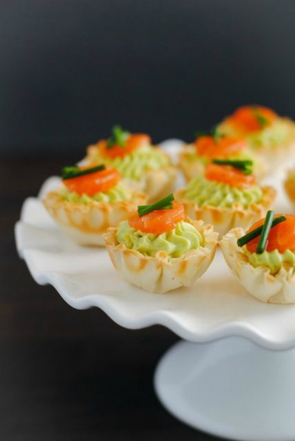 Smoked Salmon & Avocado Mousse Phyllo Cups from foxeslovelemons.com on foodiecrush.com
