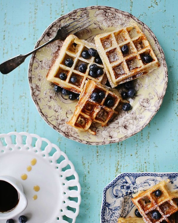 Overnight Yeast Waffles from foodess.com on foodiecrush.com