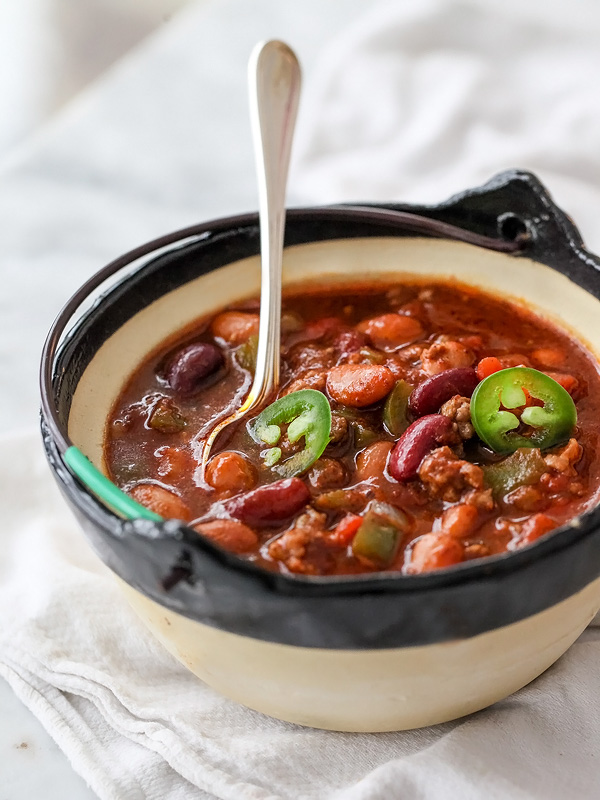Killer Beef and Three Bean Chili | foodiecrush.com #coldweather #recipe #easy