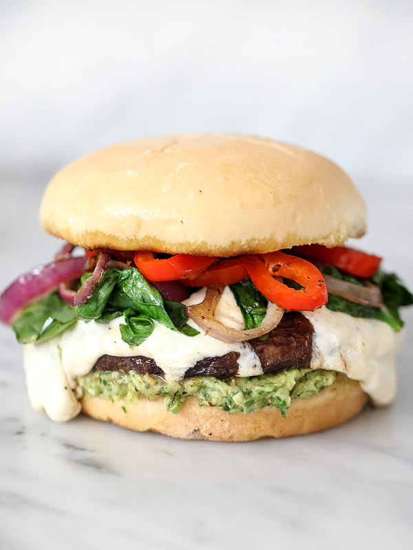 Portobello Mushroom Burger With Avocado Chimichurri And Capsule Kitchen Challenge Foodiecrush Com