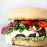 Portobello Mushroom Burger with Avocado Chimichurri | foodiecrush.com