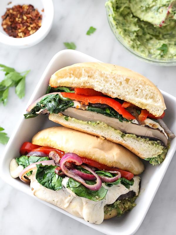 Portobello Mushroom Burger with Avocado Chimichurri | foodiecrush.com #bun #grilled #recipe