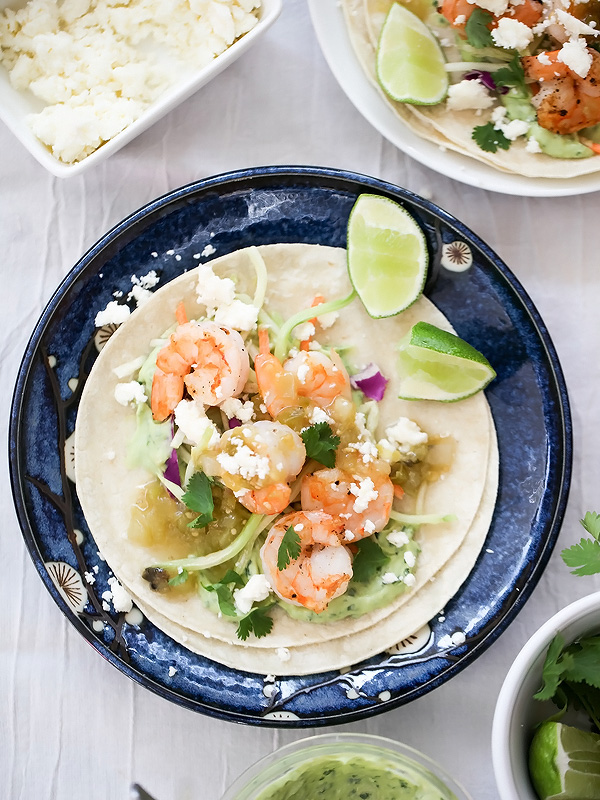 Shrimp Tacos with Garlic Avocado Crema | foodiecrush.com #easy #healthy #recipe