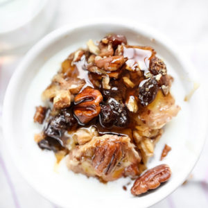 Slow Cooker Baked Oatmeal with Bananas and Nuts on foodiecrush.com