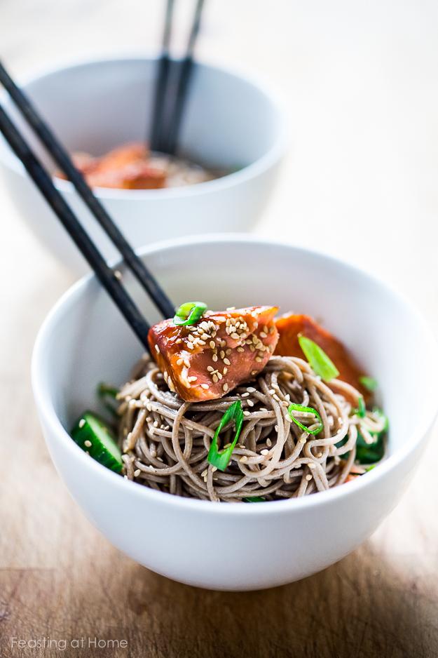 Soba Noodle salad with Smoked salmon and sesame