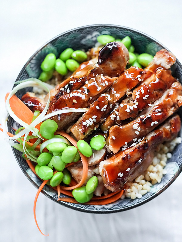 teriyaki chicken bowl with edamame