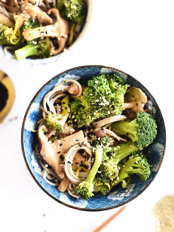 Broccoli and Shiitake Mushrooms with or Without Soba Noodles | foodiecrush.com #recipe #healthy #stirfry