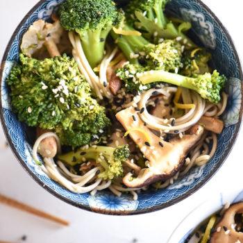 Asian Broccoli and Shiitake Mushrooms with Soba Noodles | foodiecrush.com