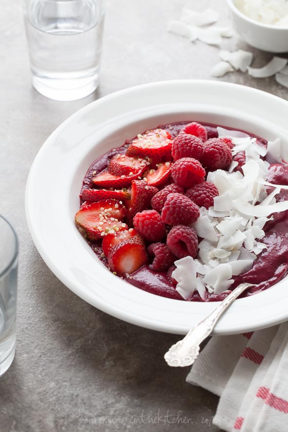 Berry Beet Acai Breakfast Bowl gourmandeinthekitchen.com | foodiecrush.com