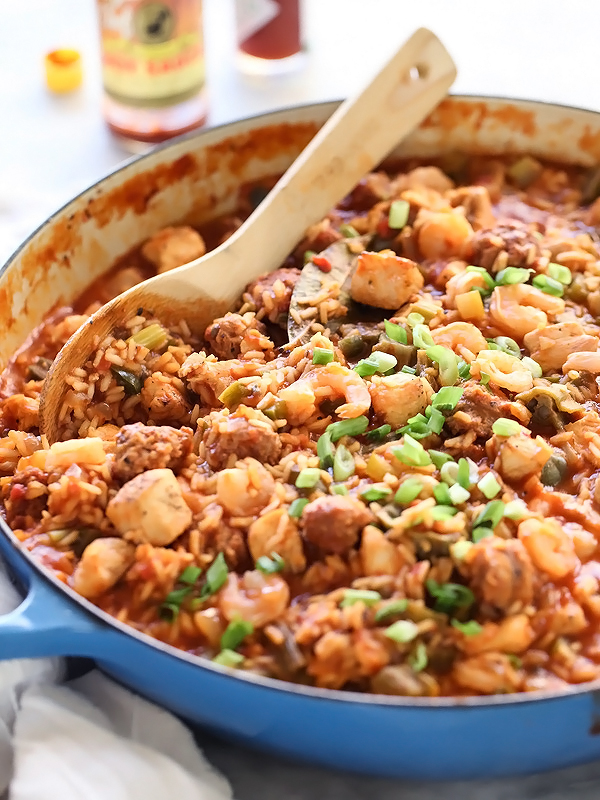 Chicken, Sausage and Shrimp Jambalaya | foodiecrush.com