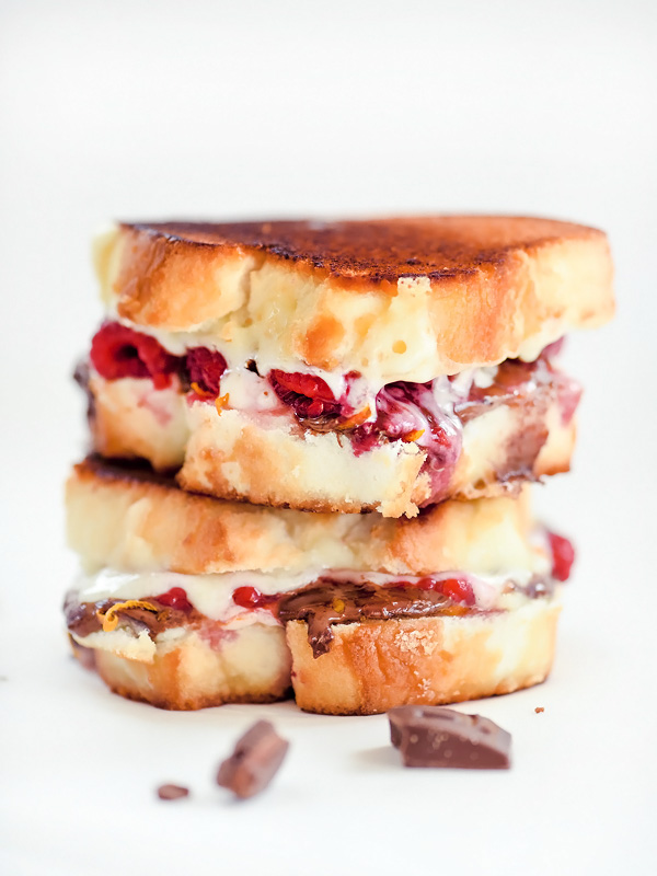 Raspberry and Chocolate Grilled Cheese | foodiecrush.com