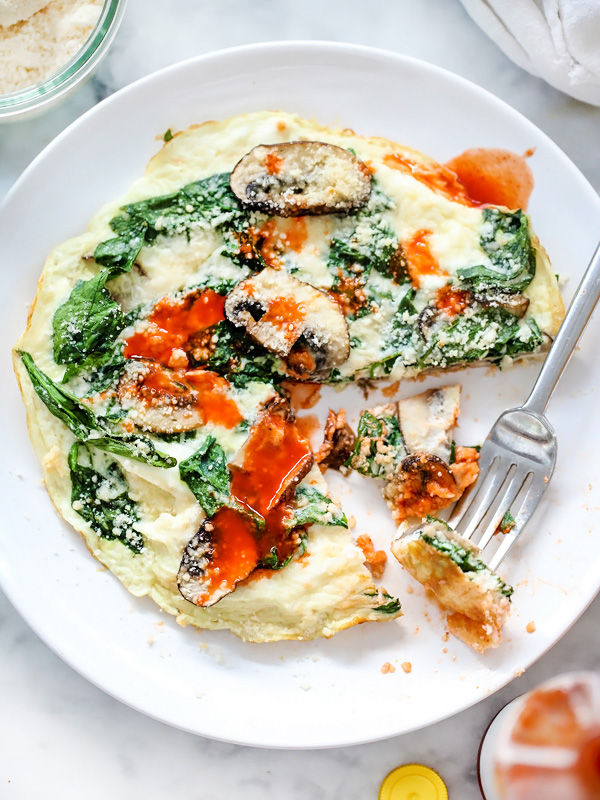 Spinach and Mushroom Egg White Firttata   foodiecrush.com #healthy #recipes #lowcarb