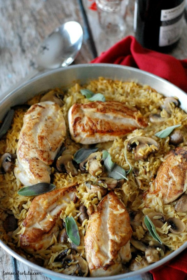 Baked Chicken and Orzo from lemonsforlulu.com on foodiecrush.com