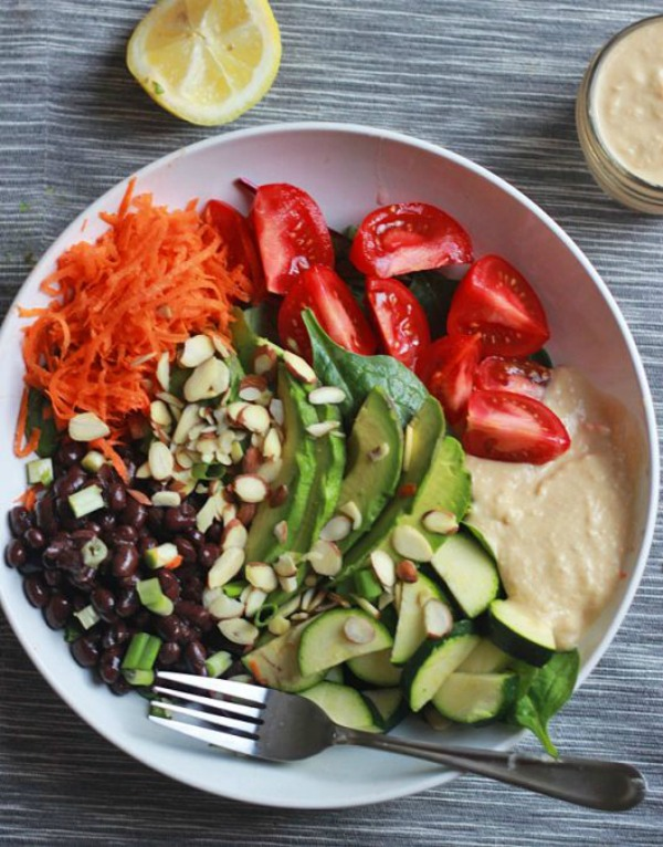 Black Bean and Avocado Power Bowl with Hummus Dressing from thetexitarian.com on foodiecrush.com