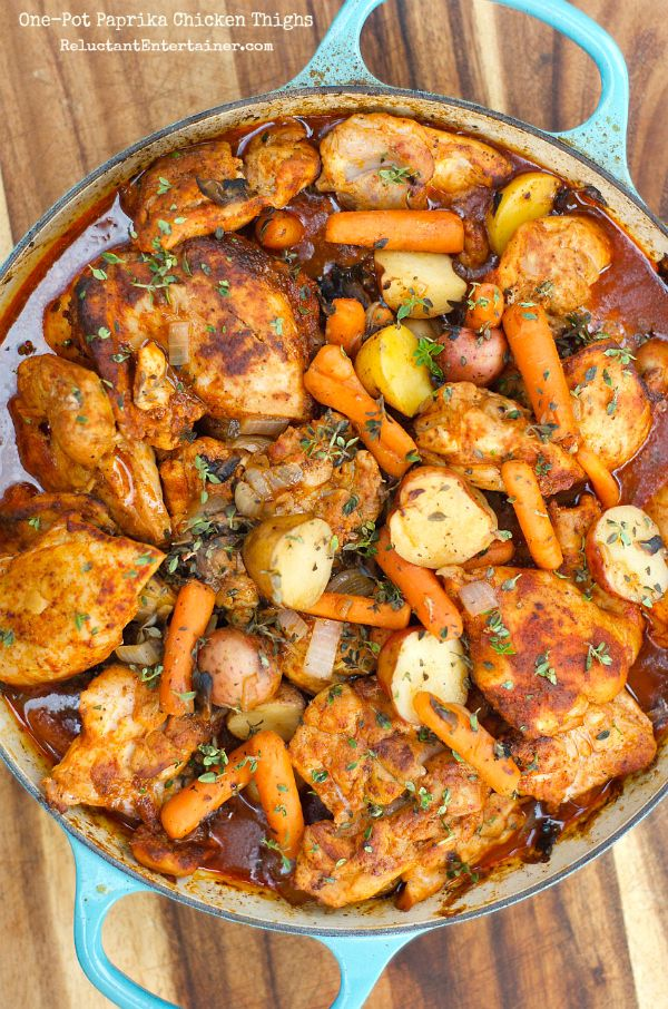 One-Pot Paprika Chicken Thighs from reluctant entertainer.com on foodiecrush.com