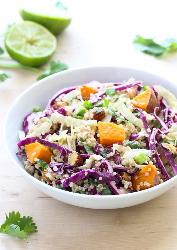 25 super healthy bowl recipes foodiecrush crunchy quinoa power bowl with almond ginger dressing from makingthymeforhealth on foodiecrush forumfinder Choice Image