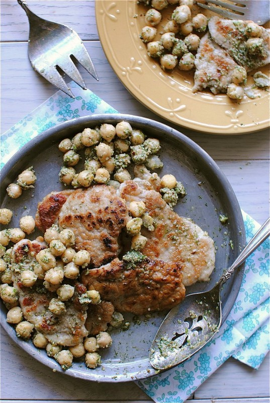 Pork Scallopini with Dill Pesto and Chickpeas from bevcooks.com | foodiecrush.com