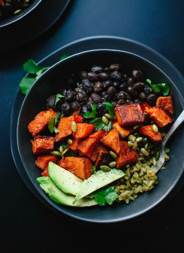 Spicy Sweet Potato & Green Rice Burrito Bowls from cookieandkate.com on foodiecrush.com