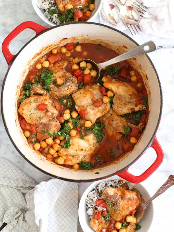 Tabasco Braised Chicken with Chickpeas and Kale from foodiecrush.com on foodiecrush.com