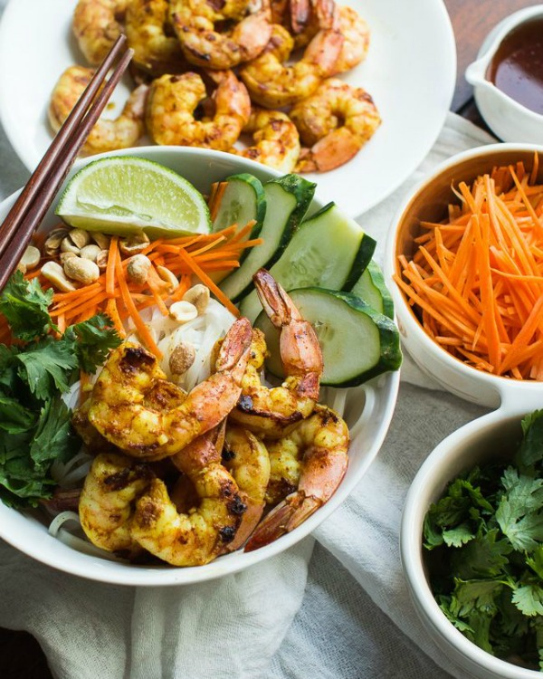 Vietnamese BBQ Shrimp Noodle Bowl from mjandhungryman.com on foodiecrush.com