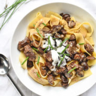 Roasted Mushroom Beef Stroganoff from SLC's Copper Onion | foodiecrush.com