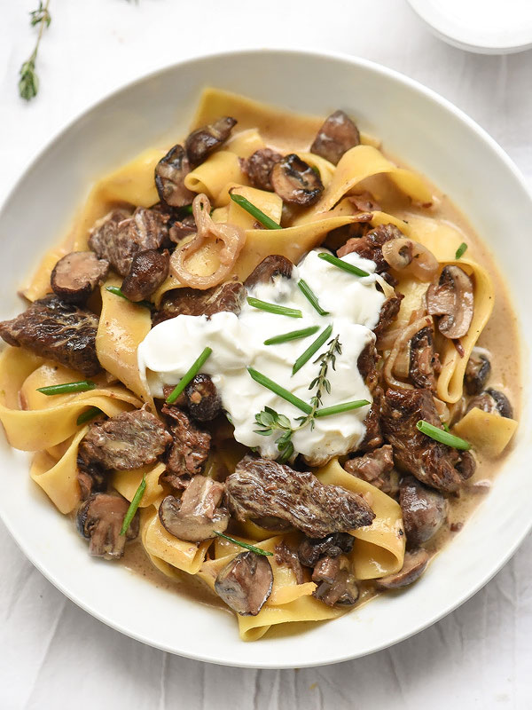 Roasted Mushroom Beef Stroganoff from SLC's Copper Onion | foodiecrush.com #easy #recipe #fromscratch #withsourcream