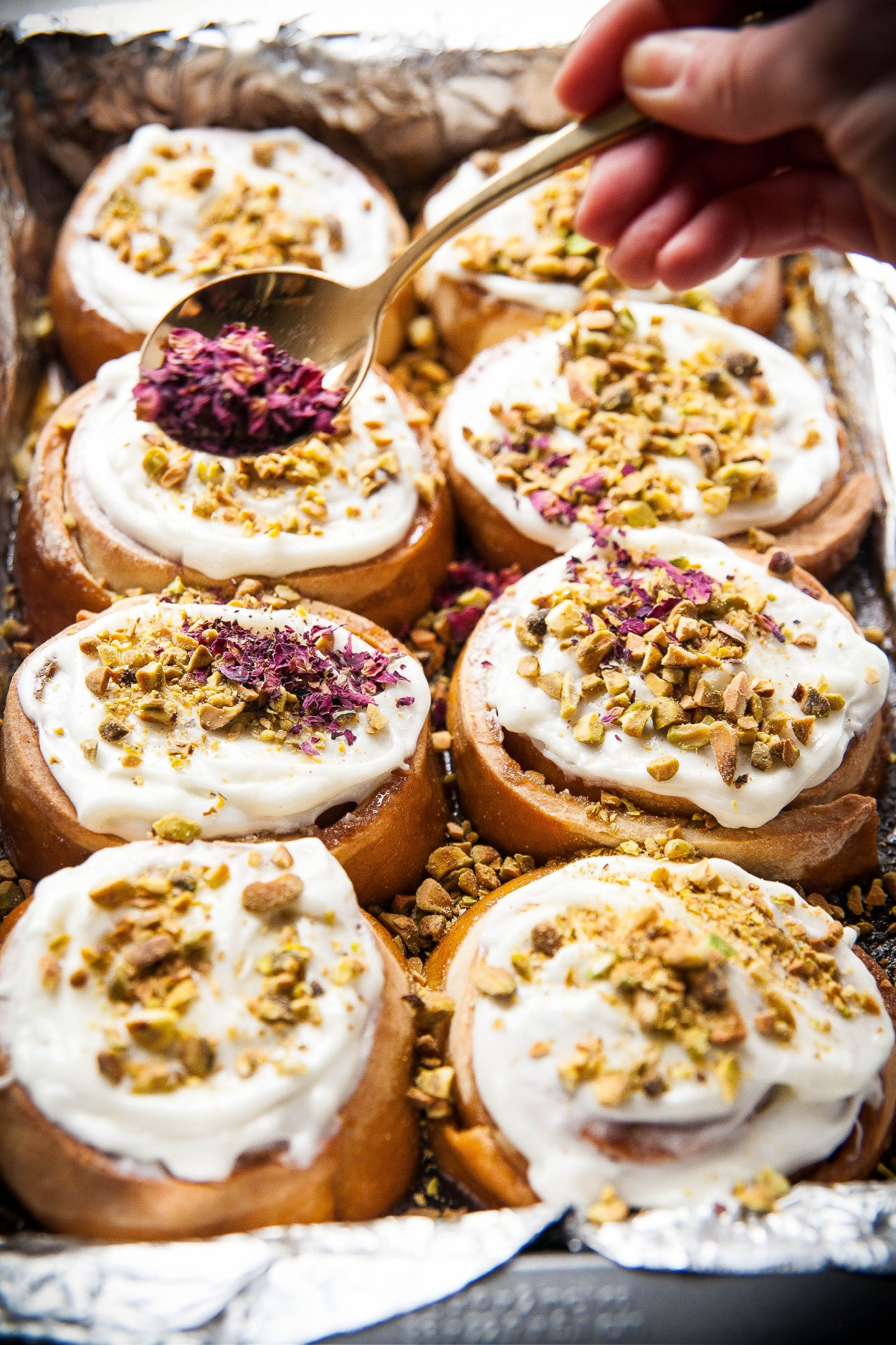 Cardamom Rolls with Pistachio Rose Frosting from thebakingbird.com | foodiecrush.com