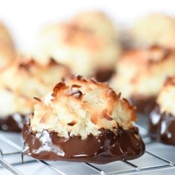 Chocolate Dipped Coconut Macaroons | foodiecrush.com