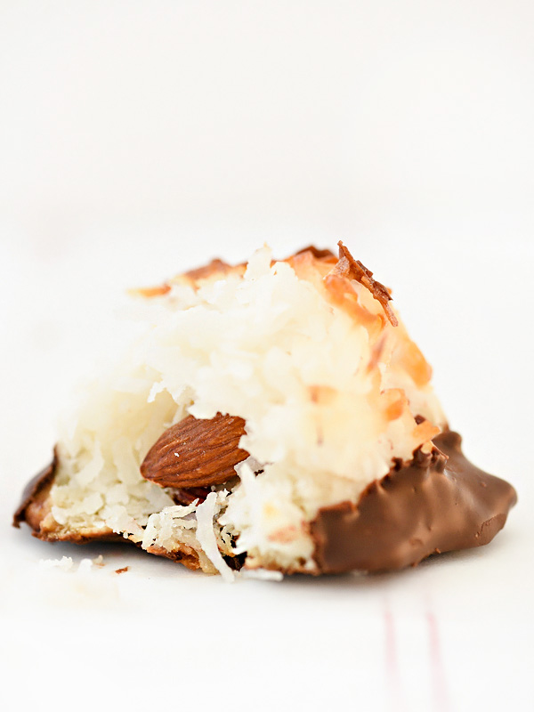 Chocolate Dipped Coconut Macaroons | foodiecrush.com #recipe #coconut #easy #chocolate