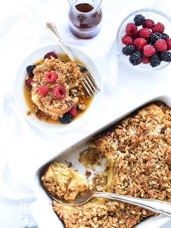 Coconut Baked French Toast With Oatmeal Crumble | foodiecrush.com