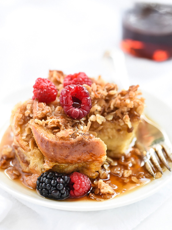 Coconut Baked French Toast With Oatmeal Crumble | foodiecrush.com #recipe #bake #easy #oven