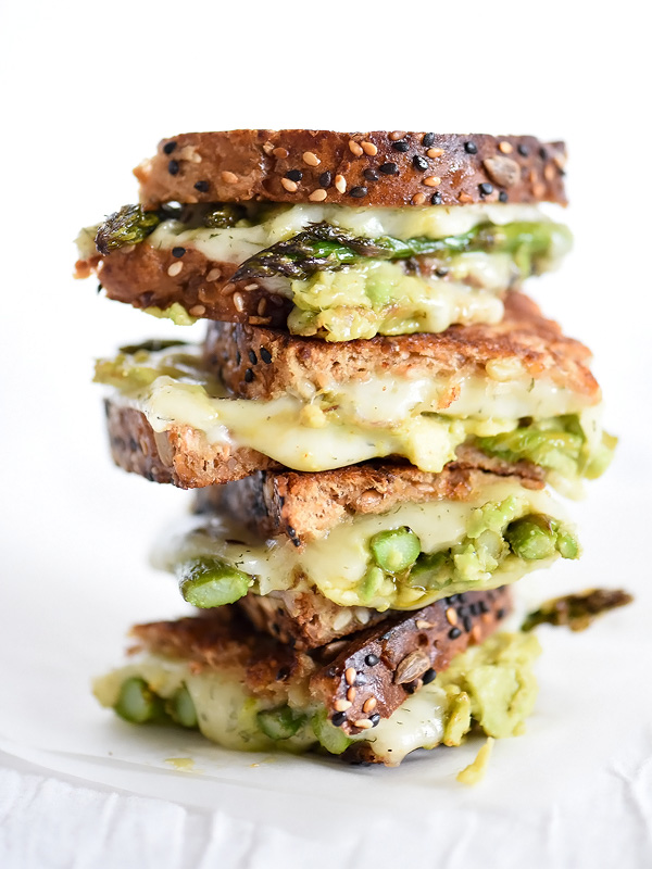 Spicy Smashed Avocado & Asparagus with Dill Havarti Grilled Cheese | foodiecrush.com
