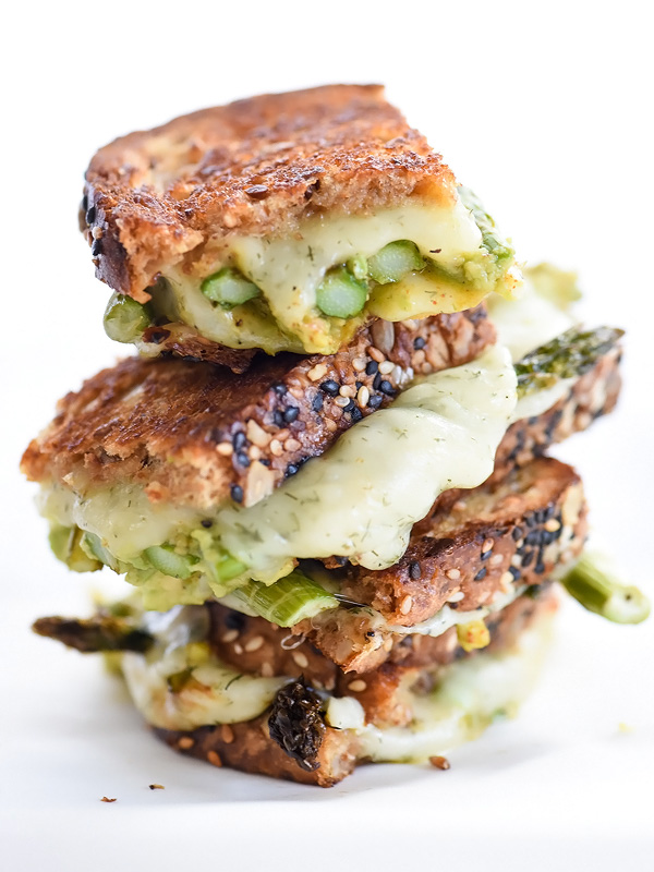 Spicy Smashed Avocado & Asparagus with Dill Havarti Grilled Cheese | foodiecrush.com #sandwich #recipes #lunches #breads